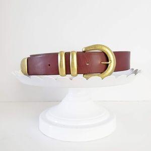 Vintage Brown Gold Buckle Belt M